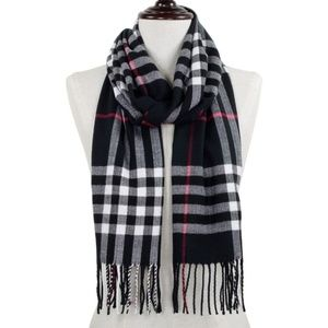 Black Plaid oblong scarf with fringes.